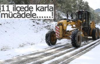 11 ilçede karla mücadele