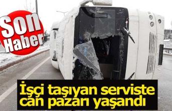 İşçi taşıyan servis devrildi; 10 yaralı