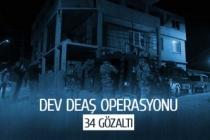 Dev DEAŞ operasyonu; 34 gözaltı