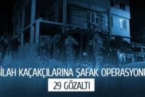 Silah kaçakçılarına şafak operasyonu; 29 gözaltı