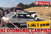 2 araç kafa kafaya çarpıştı; 1 ölü 1 yaralı (GÖRÜNTÜLÜ)