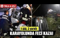 Karayolunda feci kaza  1 ölü, 2 yaralı