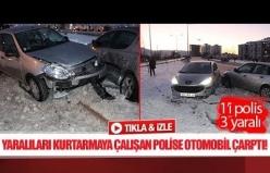 Yaralıları kurtarmaya çalışan polise otomobil çarptı!
