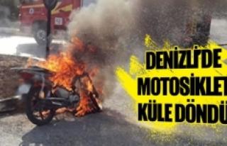 Denizli'de motosiklet küle döndü