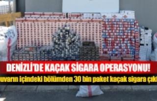 Duvarın içindeki bölümden 30 bin paket kaçak...