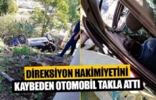 Direksiyon hakimiyetini kaybeden otomobil takla attı...
