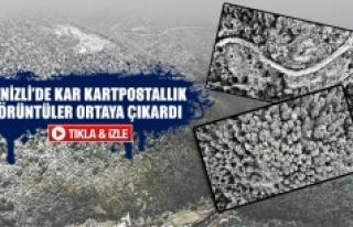 Denizli'de Kar Kartpostallık Görüntüler Ortaya...