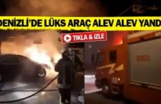 Denizli'de lüks araç alev alev yandı