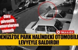Denizli'de park halindeki otomobile levyeyle saldırdı!