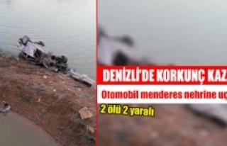 Denizli'de otomobil menderes nehrine uçtu