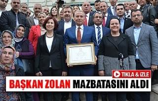 Başkan Zolan mazbatasını aldı