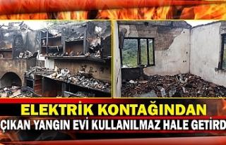 Elektrik kontağından çıkan yangın evi kullanılmaz...