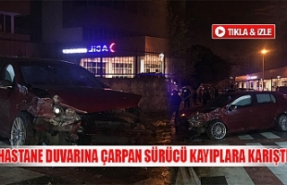 Hastane duvarına çarpan sürücü kayıplara karıştı
