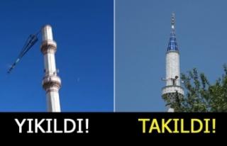 Minarenin külahı yerine takıldı