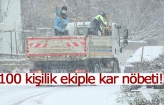 100 kişilik ekiple kar nöbeti!