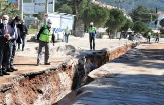 Muğla Fethiye'de kanalizasyon çalışması...