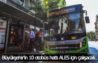 Büyükşehir'in 10 otobüs hattı ALES için...