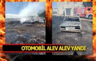 Otomobil bir kıvılcımla alev alev yandı!