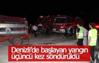 Denizli'de başlayan yangın üçüncü kez söndürüldü