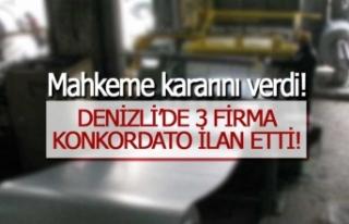 Denizli'de 3 firma konkordato ilan etti.