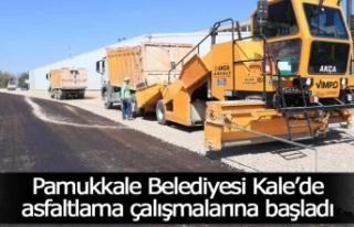 Pamukkale Belediyesi Kale'de asfaltlama çalışmalarına...