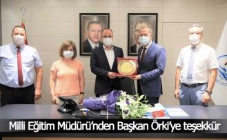 Milli Eğitim Müdürü Çimen'den Başkan Örki'ye teşekkür