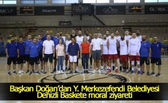 Başkandan basketbolculara moral ziyareti!