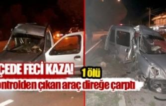 Kontrolden çıkan araç direğe çarptı  1 ölü
