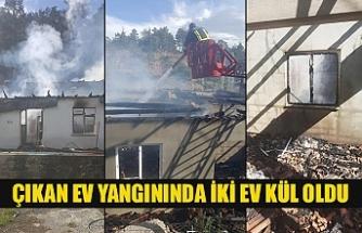Çıkan ev yangınında iki ev kül oldu