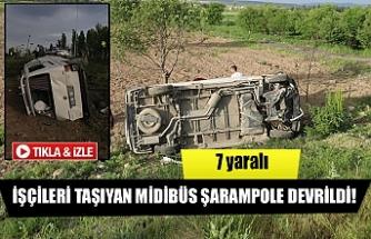 İşçileri taşıyan midibüs şarampole devrildi!  7 yaralı
