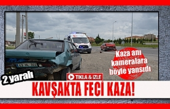 Kavşakta feci kaza ! 2 yaralı