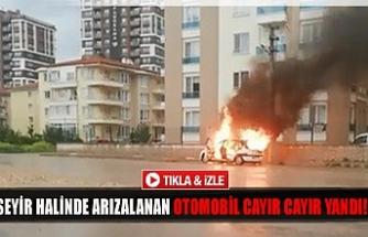 Seyir halinde arızalanan otomobil cayır cayır yandı