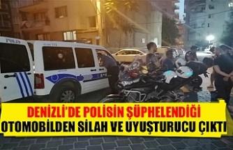 Denizli'de polisin şüphelendiği otomobilden silah ve uyuşturucu çıktı