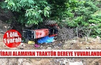 Virajı alamayan traktör dereye yuvarlandı!