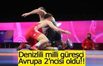 Denizlili milli güreşçi Karadeniz, Avrupa 2'ncisi oldu