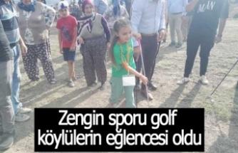 Zengin sporu golf  köylülerin eğlencesi oldu