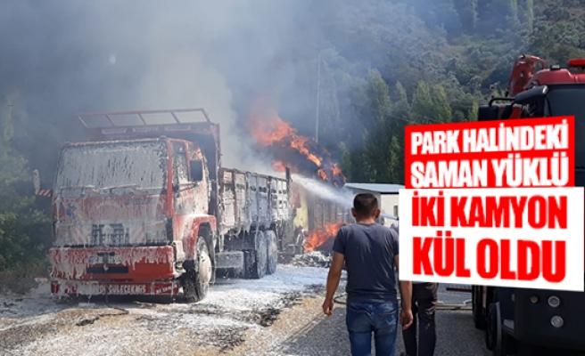 Park halindeki saman yüklü iki kamyon kül oldu