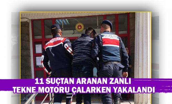 11 suçtan aranan zanlı tekne motoru çalarken yakalandı