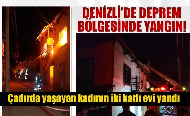 Denizli'de deprem bölgesinde yangın!
