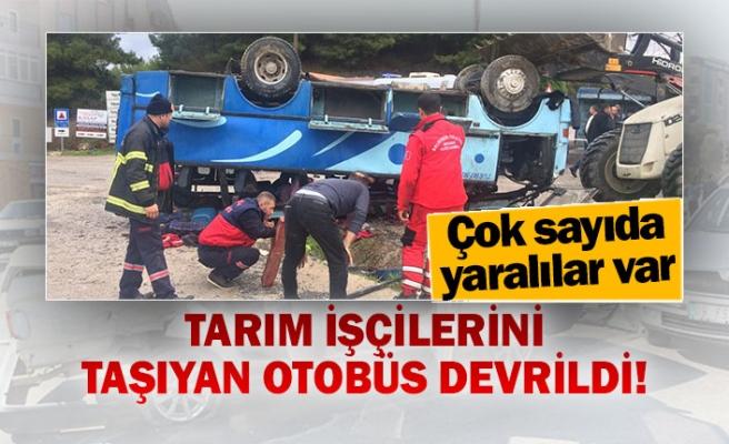Tarım işçilerini taşıyan otobüs devrildi!