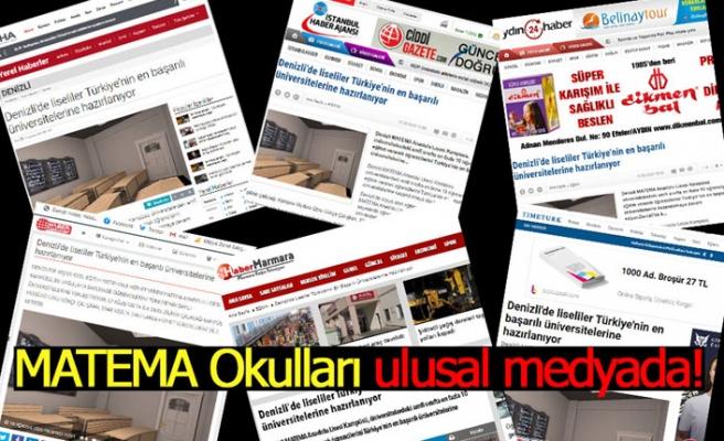 MATEMA Okulları ulusal medyada!