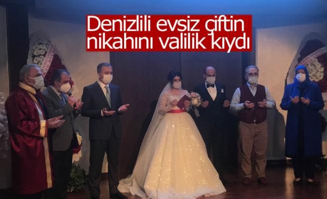 Denizlili evsiz çiftin nikahını valilik kıydı!