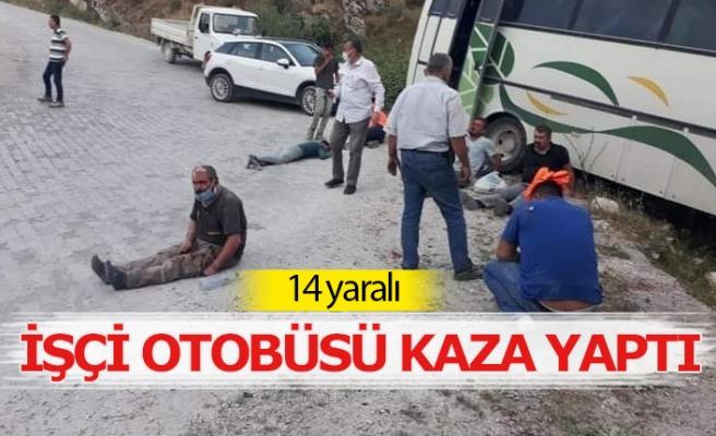 İşçi servisi kaza yaptı;14 yaralı