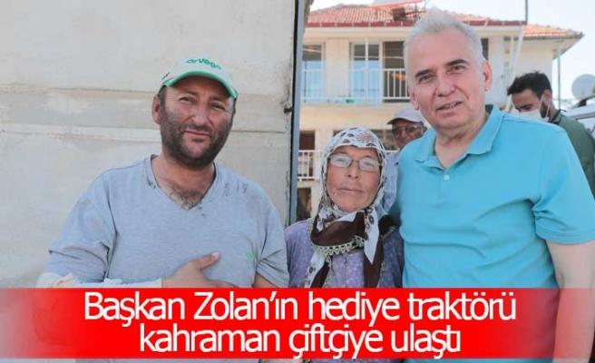 Başkan Zolan'ın hediye traktörü kahraman çiftçiye ulaştı