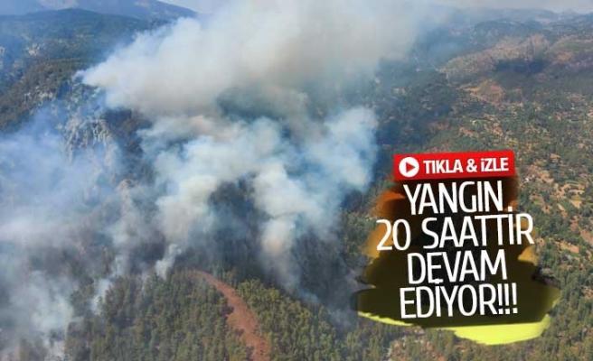 Muğla'daki yangına 12 helikopter müdahale ediyor (GÖRÜNTÜLÜ)
