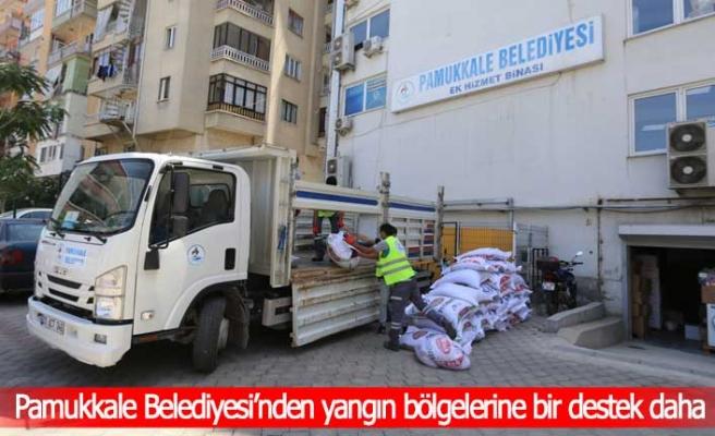 Pamukkale Belediyesi'nden yangın bölgelerine bir destek daha