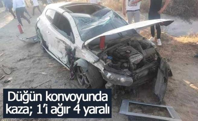 Düğün konvoyunda kaza; 1'i ağır 4 yaralı