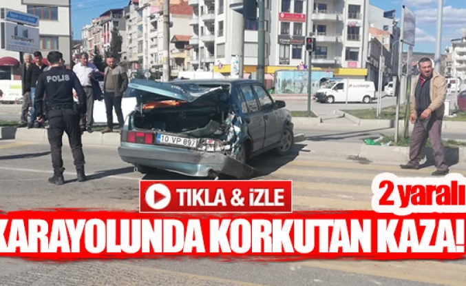 Karayolunda korkutan kaza!  2 yaralı
