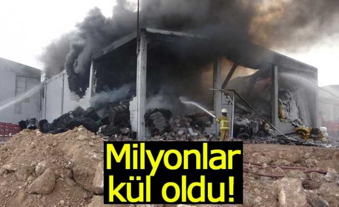 Fabrikada çıkan yangında milyonlar kül oldu