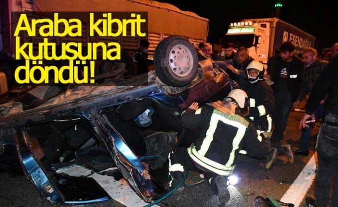 Kazada araç kibrit kutusuna döndü